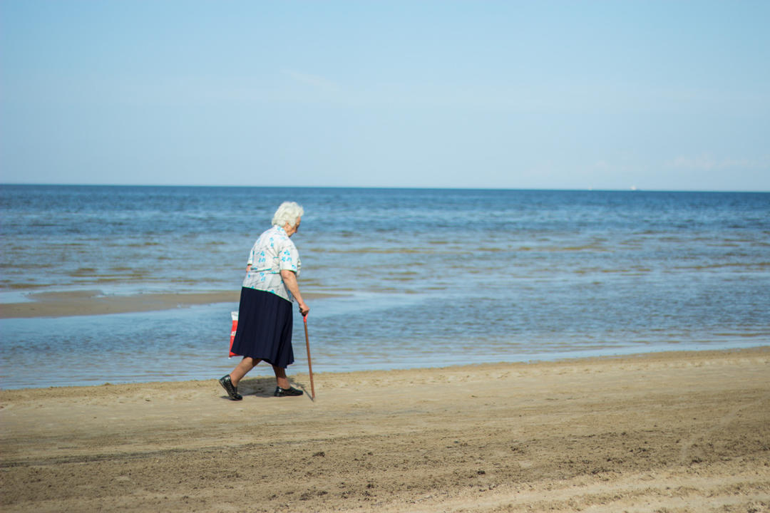 grandma at beach